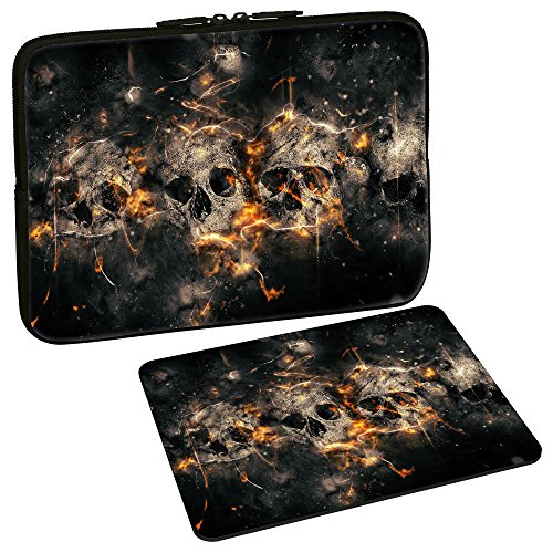 PEDEA Design Schutzhülle Notebook Tasche bis 15,6 Zoll (39,6cm) mit Design Mauspad, Skulls