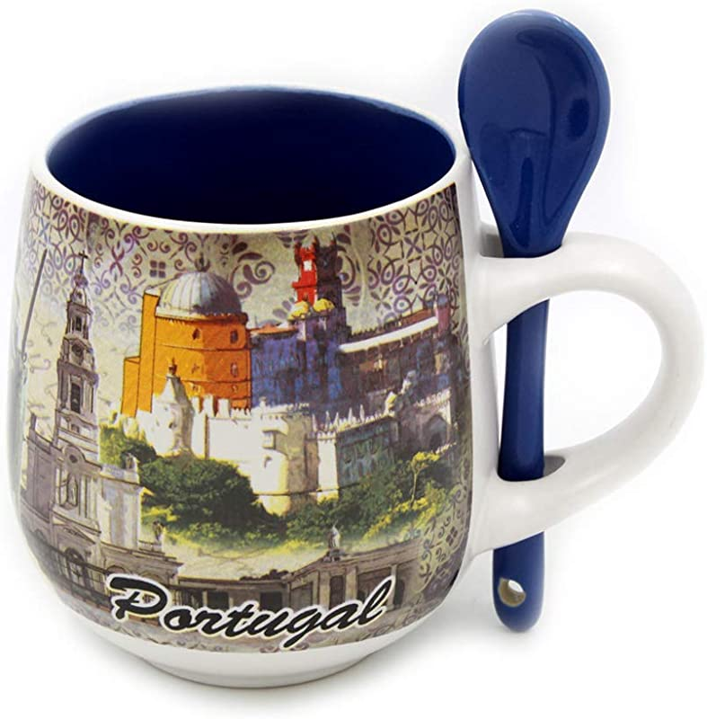 Portuguese Ceramic Coffee Mug With Spoon Souvenir From Portugal