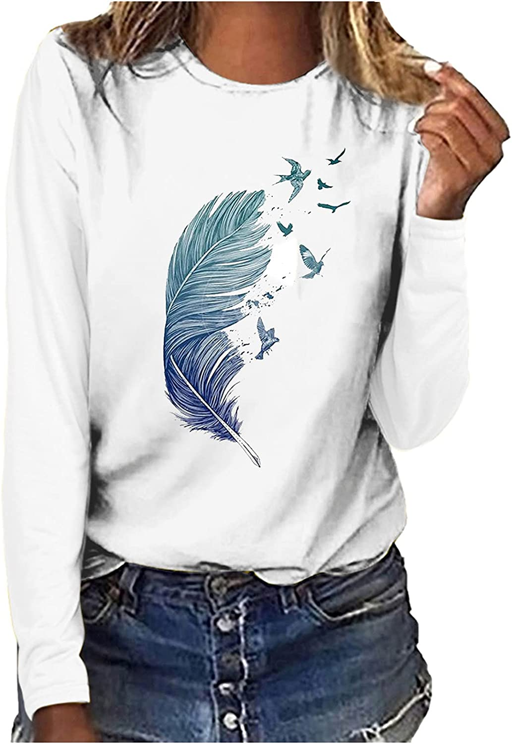 Women's Blouse Tops Fashion Printed Long Sleeve Casual O-Neck Loose T-Shirt Flowy Tunic Blouse Tops