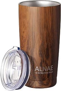 ALNAE タンブラー ふた付き 真空断熱 600ml 水筒 マグボトル コーヒーカップ 二重構造 保温保冷 直飲み 大容量 ビール コーヒー 直接ドリップ 木目調