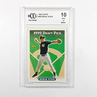 1993 Topps Baseball #98 Derek Jeter Rookie Card Graded Beckett BCCG 10 Mint or Better