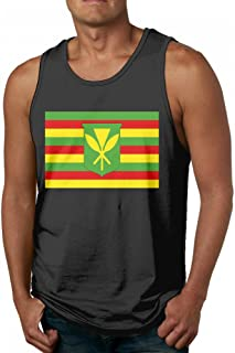 7643c7427c0bb Kanaka Maoli Native Hawaiian Flag Men s Popular Black Tank Top T-Shirt  Fitness Cotton Tees
