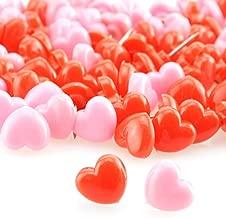 Heyous 100pcs Heart Shaped Push Pins Pink and Red Plastic Thumbtacks for Cork Board DIY Decoration