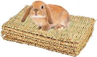 CAMITER Maty na trawę dla małych zwierząt, zabawka dla zwierząt, łóżko dla królików, naturalne, ręcznie tkana mata trawias...