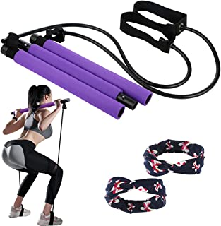 Pilates bar Kit with Resistance Band Yoga Exercise Pilates Stick Total Body Workout Bar Portable 3-Section Home Gym Fitnes...