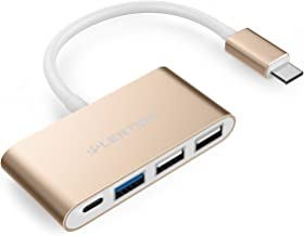LENTION 4-in-1 USB-C Hub with Type C, USB 3.0, USB 2.0 Compatible MacBook Air 2018 2019, MacBook Pro 13/15 (Thunderbolt 3), Chrome, More, Multiport Charging & Connecting Adapter (Champagne Gold)