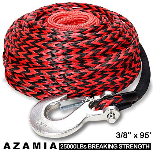 """AZAMIA Synthetic Winch Rope, 1/4"""" x 50' 8000 LBs 12 Strands Red & Black Winch Line Cable Rope with Premium Black Protective Sleeve Universal Fits 4WD Off Road Vehicle ATV UTV SUV Motorcycle"""