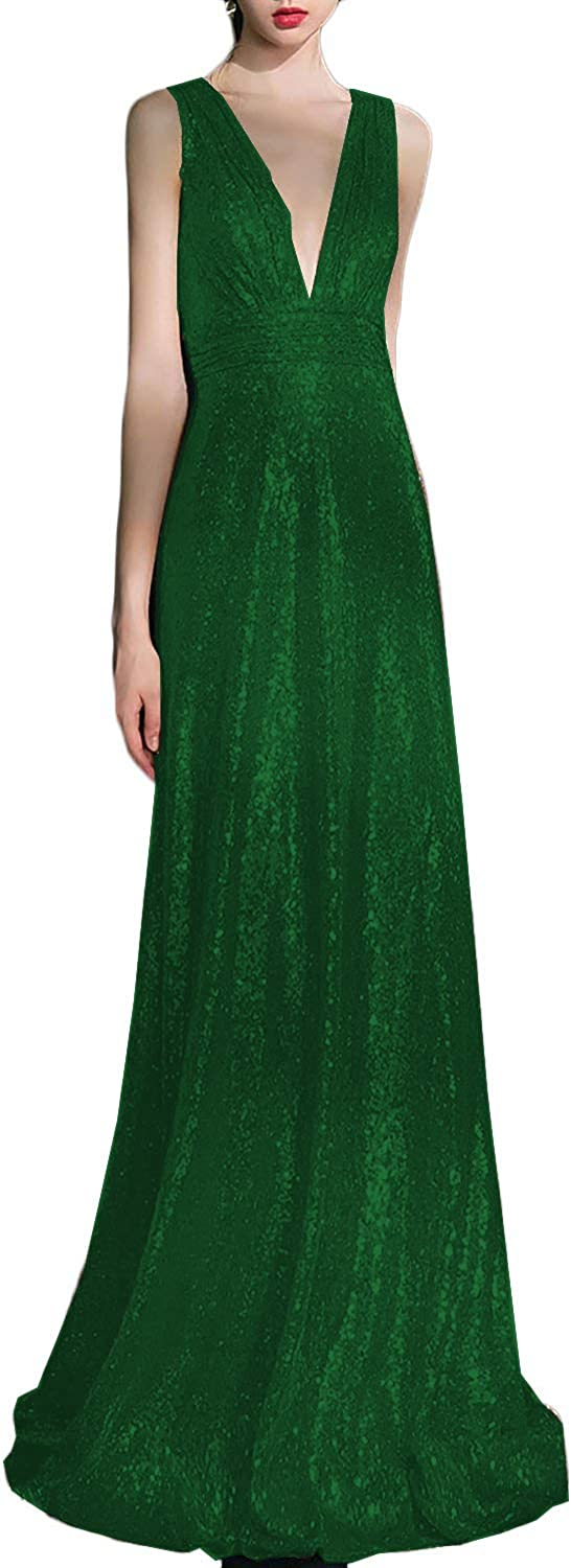 Scarisee Womens Sparkle Sequins V Neck Bridesmaid Prom Evening Party DressesSA10