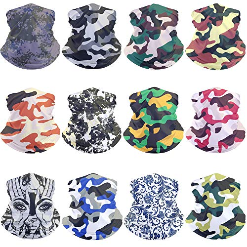 12pcs Magic Scarf Outdoor Headwear Bandana Sports Tube UV Face Mask for Workout Yoga Running Hiking Riding