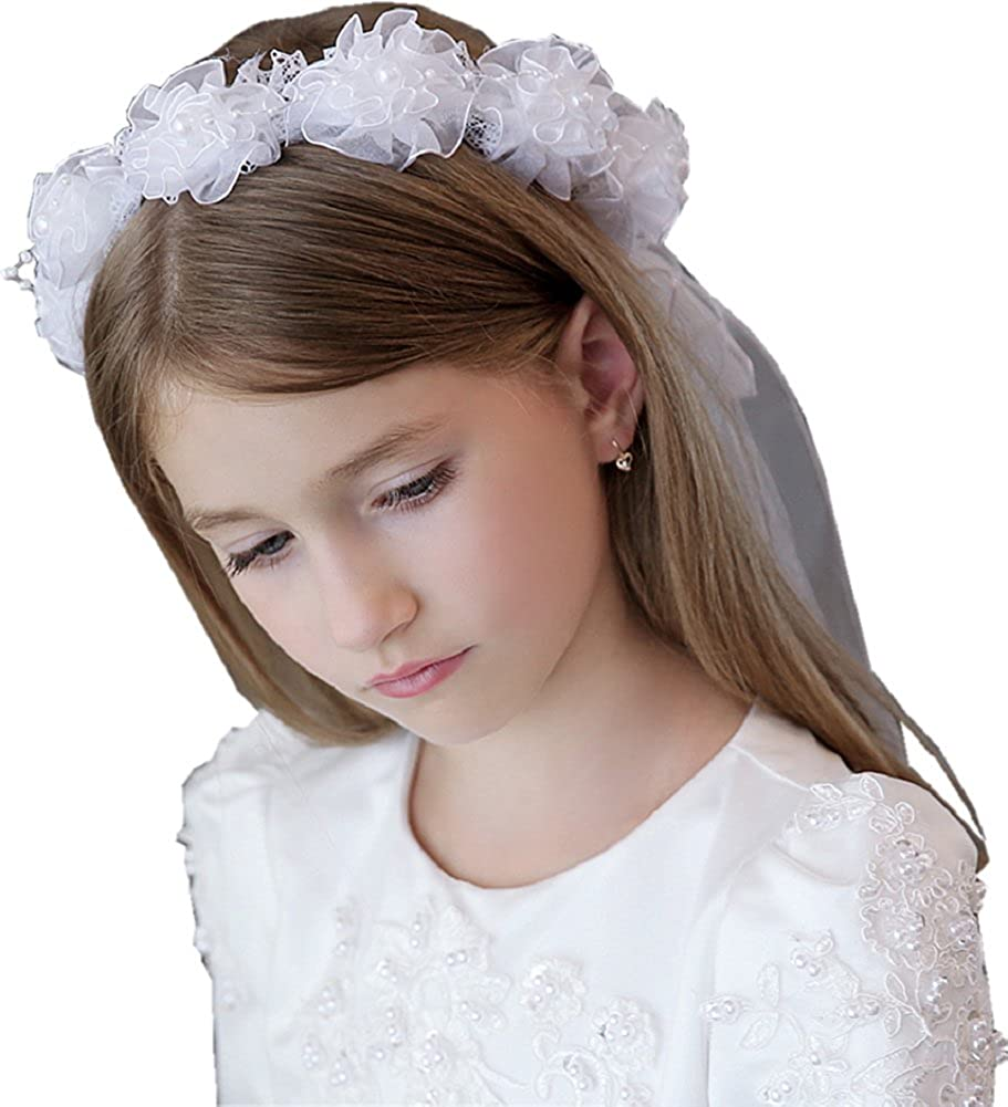 Girls White First Communion Wedding Flower Pearls Crystal Satin or Lace Veil Hair Accessory 1 or 2 Tier