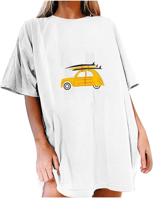 TARIENDY Vintage Tees for Women Loose Crewneck T Shirt Car Graphic Blouse Short Sleeve Summer Tops