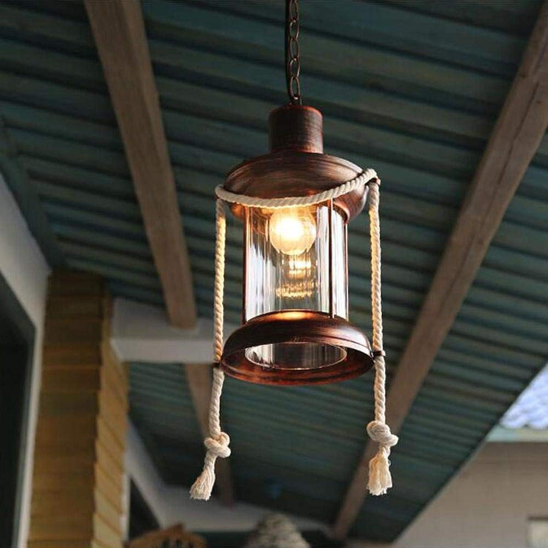 FDA3H Pendelleuchte Retro Hngelampe E27 1 Licht Deckenbeleuchtung für Esszimmer Küche Wohnzimmer Eisen Hanfseil Glas Lampe Durchmesser 21 cm, A