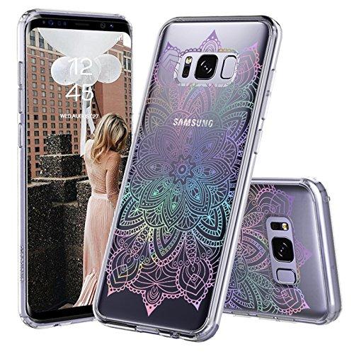 MOSNOVO Galaxy S8 Hülle, Farbverlauf Regenbogen Henna Mandala Muster TPU Bumper mit Hart Plastik Hülle Durchsichtig Schutzhülle Transparent für Samsung Galaxy S8 (Rainbow Henna Mandala)