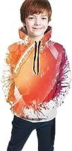 Teen Hooded Sweatshirts,Rugby Ball in Digital Watercolors Splash Recreational Leisure Sports Run Design Art Theme