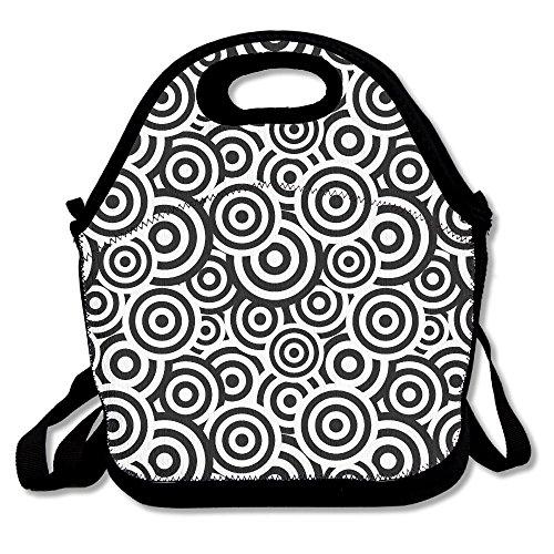 Negro y white-circle personalizada aislado almuerzo caja alimentos bolsa neopreno Gourmet bolso aislante bolsa bolso para la escuela oficina de trabajo
