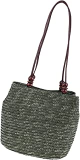 Baoblaze Chic Womens Straw Bag Summer Beach Hand-woven Bag Zipper Closure Tote Purse
