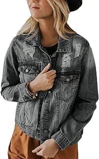 Women's Denim Jacket Ripped Jean Jacket Boyfriend Long Sleeve Coat
