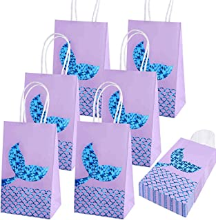 Beauenty 12pcs Mermaid Gift Bags Mermaid Party Supplies Favors Goodie Bag Glitter Treat Bags for Under the Sea Party Merma...