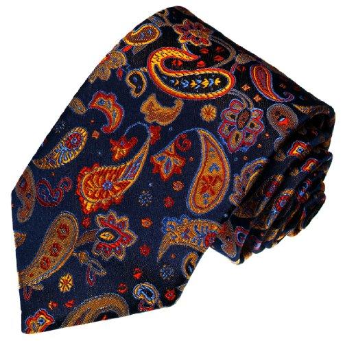 Lorenzo Cana - Exklusive Seidenkrawatte - blau gelb rot Paisley Blumen floral - Krawatte aus 100% Seide - 36026