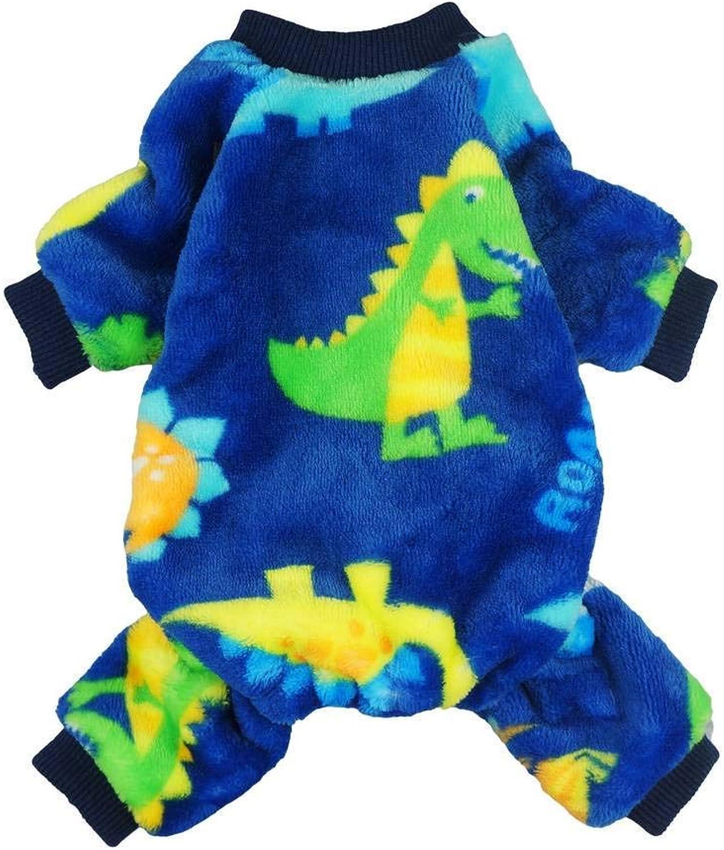 Fitwarm Dinosaur Pet Clothes for Dog Pajamas Coat Cat PJS Jumpsuit Soft Velvet bluee XS