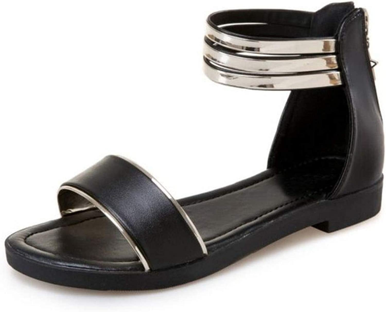 Women Flats Sandals Open Toe Zipper Women Sandals Korean Sandals Woman Holidays Footwear,Black,4