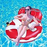 SUNSHINE-MALL Flotador de piscina hinchable, flotador de lago, hinchable, silla flotante de sofá de aire, ideal para adultos y niños para fiestas acuáticas (Sofa-Red)