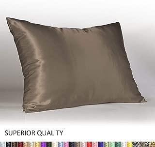 Shop Bedding Luxury Satin Pillowcase for Hair – Standard Satin Pillowcase with Zipper, Pewter (Pillowcase Set of 2) – Blissford