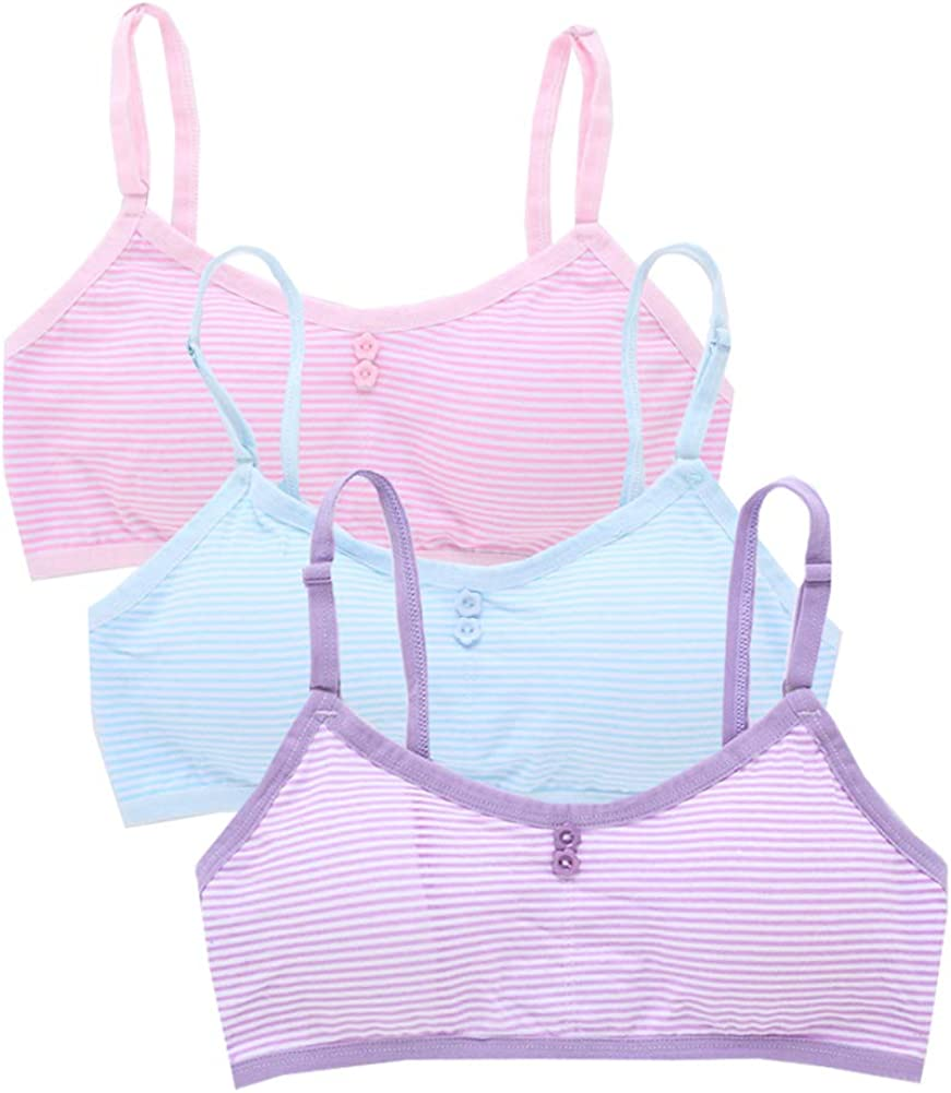 YUMILY Age 8-14 Girls Striped Training Bras Beginner's Bralette with Pads
