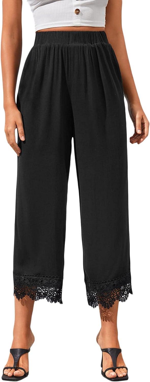 Milumia Women's High Waist Wide Leg Pants Casual Crop Dress Pants