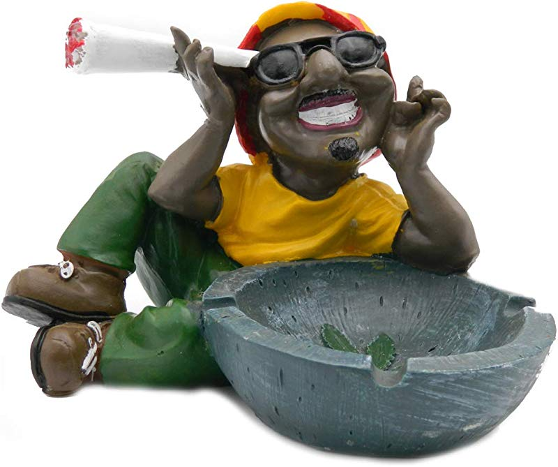 Rockin Gear Ashtray Rasta Figurine Ashtray Jamaican Man Marijuana Cigarette Ashtray Weed Hemp Pot Cannabis Party Accessory Chilling Out