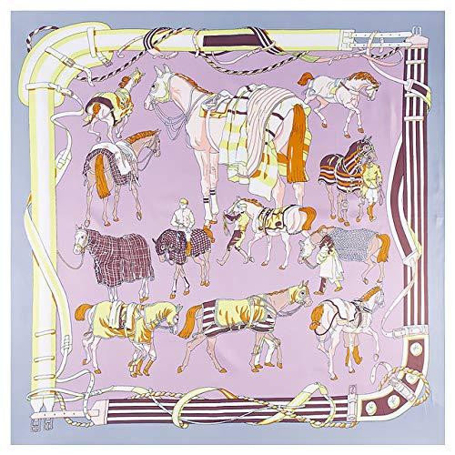 YDMZMS 130 * 130 cm dames kettingwagen vierkant zijden sjaal mode vrouwelijke doeken en wikkelen Foulard Femme Horse Print Banadana 3