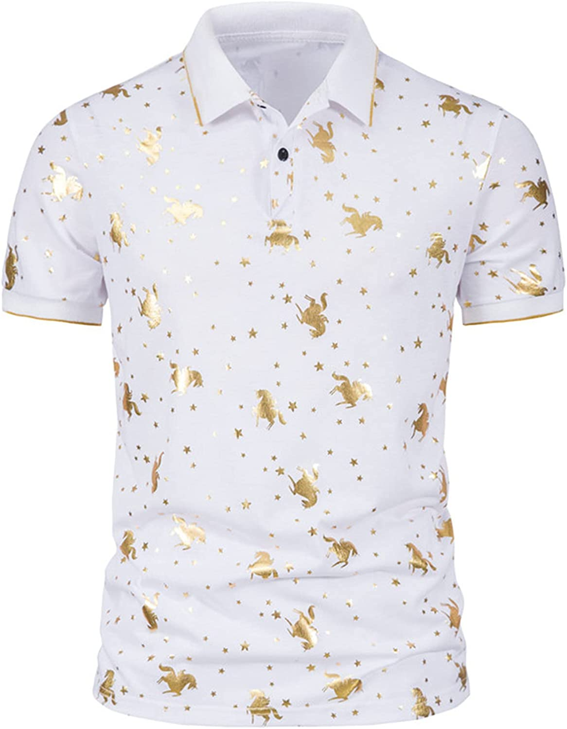 Dri Fit Polo Shirts for Men Big and Tall Quick Dry T Shirt Summer Bronzing Print Short Sleeved Lapel Blouse