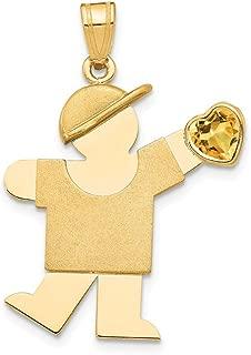 14k Yellow Gold Boy Cubic Zirconia Cz November Birthstone Pendant Charm Necklace Kid Fine Jewelry For Women