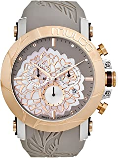 Mulco La Fleur Hortensia Swiss Chronograph Quartz Movement Women's Watch | Premium Mother of Pearl and Swarovski Sundial Display Rose Gold Accents | Silicone Watch Band | Water Resistant