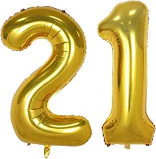 40inch Gold Number 21 Balloon Party Festival Decorations Birthday Anniversary Jumbo foil Helium Balloons Party Supplies use Them as Props for Photos (40inch Gold Number 21)