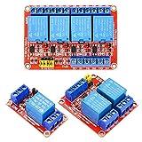 KeeYees リレーモジュール DC 5V 1チャンネル 2チャンネル 4チャンネル 継電器モジュール フォトカプラ付き 高低レベル トリガー Arduino対応 STM32対応 Raspberry Pi対応 合計3個