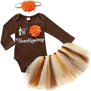 Newborn Infant Baby Girl First Thanksgiving Turkey Romper Tutu Skirt Outfits Set Print Beautiful Clothing