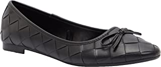 Shoexpress Textured Round Toe Slip-On Ballerina Shoes With Bow Accent