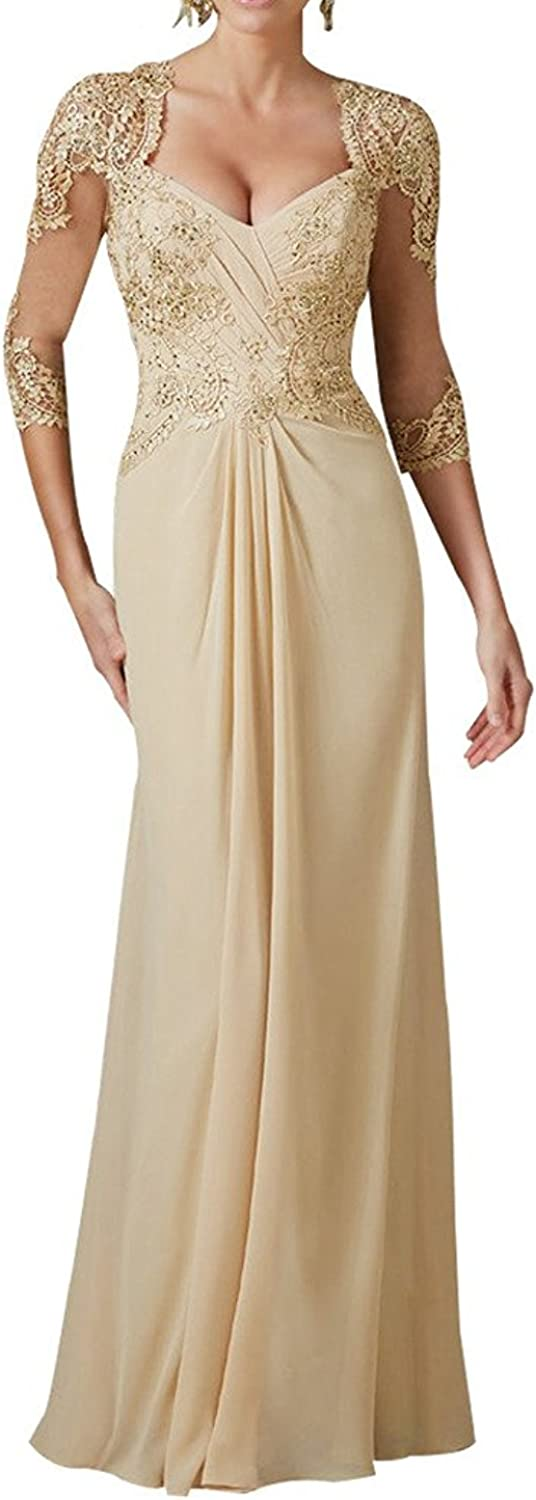 H.S.D Women's Sexy V Neck Mother of The Bride Dress Formal Long Evening Gown