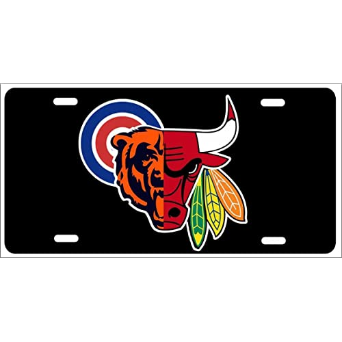 Chicago IL City Flag License Plate Tag Vanity Front Aluminum 6 Inch By 12 Inch