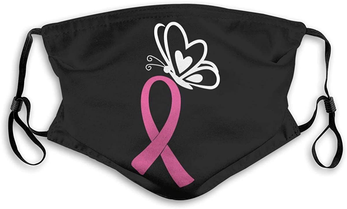 Breast Cancer Awareness Face Mask, Unisex Reusable Washable Comfortable Breathable Bandanas with Filters for Travelling Cycling Balaclava