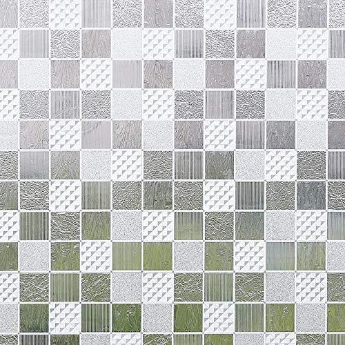 Película de Vidrio estático, Pegatina de Ventana Impermeable con protección de privacidad con patrón de Mosaico, Adecuada para el hogar, la Oficina, la Tienda, el Mercado B 60x300cm