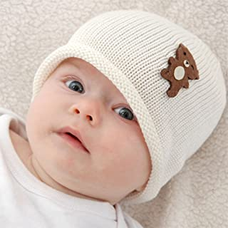 Cute Baby Beanie Hat 0-6m Soft Luxurious Cotton Knit - Brown Bear: Cream Hat