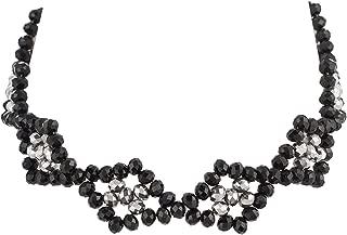 Chuvora Handmade Diamond Shape Black Onyx, Crystal, Seed Beads Adjustable Necklace, Jewelry for Women, Girls
