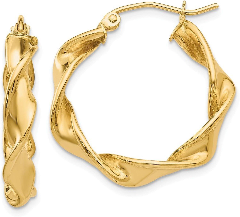 Beautiful Yellow gold 14K Yellowgold 14k 4.00mm Twisted Hoop Earrings