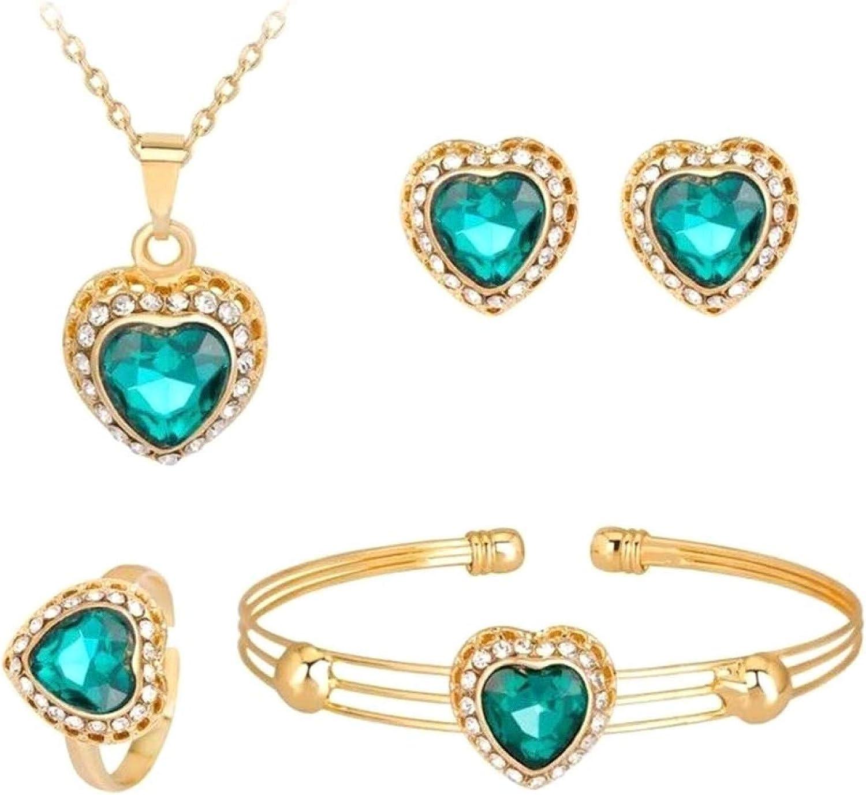 Women's Fashion Jewelry Sets,Women Rhinestone Heart Pendant Necklace Earrings Ring Bracelet Jewelry Set Gift