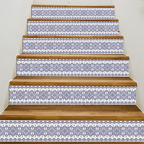 MVNZXL Papel Pintado de Escalera, 6 Piezas de Porcelana Azul y Blanca Pegatina de Escalera, Papel Pintado de PVC Impermeable Pegatina de Escalera de Vinilo 18X100cm(Color:A)
