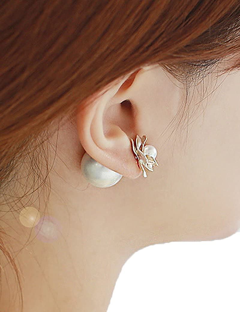 Lujuny Alloy Shell Pearl Flower Double Side to Wear Earrings Studs with Gift Box for Women Girls, 1 Pair