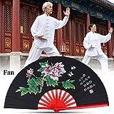 Fan de Tai Chi, ventilador de seda chino de Kung Fu de artes marciales de Kung Fu Fan de seda de mano derecha de Wushu Funcionamiento de danza Ventilador plegable de mano de ventilador(Negro)