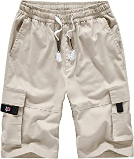 Men's Cargo Shorts Elastic Waist Twill Relaxed Fit Multi-Pockets Outdoor Casual Shorts